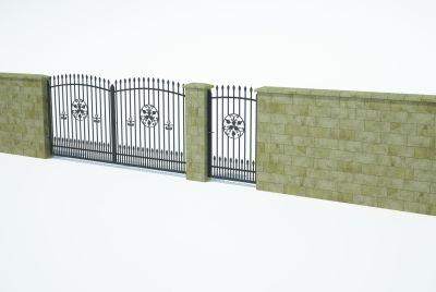 Staket murblock, vägg