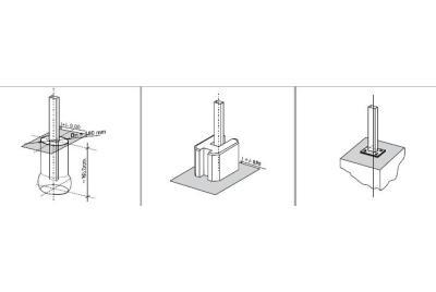 Staketstolpar av metall, betong, trä, XPS